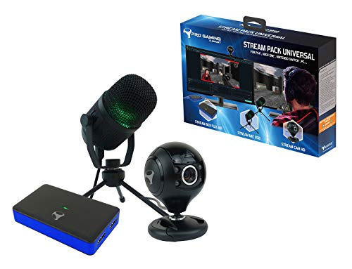 Subsonic - Stream Pack di accessori per youtubers con box di acquisizione video Full HD, microfonocardioide e telecamera HD - Compatibile console PS4 / Slim/ Pro - Xbox One / S / X - Switch - PC