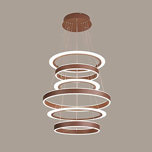 Braune Pendelleuchte (Moderne led pendelleuchte dimmbar mit Fernbedienung Tisch esszimmer 6 braune Ringe pendelleuchte kronleuchter hängelampe Living cusine iisland büro innenbeleuchtung kronleuchter)