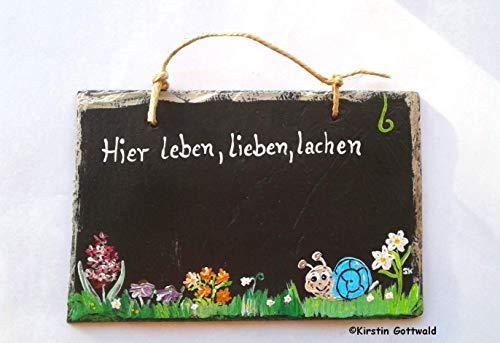 handbemalter Schiefer Namensschild Eingangstür Hier leben, lieben, lachen