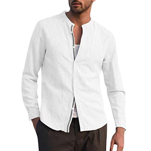 Fashion Herren Baumwoll- und Leinenoberteile Gemütlich Trend Herbst Übergangsjacke Einfarbig Einfaches Nähen Hemd mit Stehkragen O-Kragen Brust Brustknopf Mantel Freizeithemd