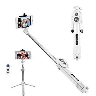 Bluetooth Selfie Stick, Alfort Selfie Stab Stativ mit Bluetooth Fernbedienung Mini Selfie-Stange für iPhone Samsung Huawei Xiaomi Redmi LG Sony usw iOS und Android SmartPhone bis 5.5 Zoll (Weiß)