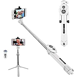 """Alfort Perche Selfie, Bâton de Selfie Bluetooth Trépied Monopode Selfie Stick Télescopique avec Télécommande pour iPhone 8 Plus, Galaxy S7 Edge, Huawei P10 Plus et Smartphones jusqu'à 5.5"""" (Blanc)"""