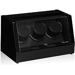 Luxwinder Unisex Zubehör Uhrenbeweger für 3 Automatikuhren makassar powered by Modalo verschiedene Materialien schwarz 8003112