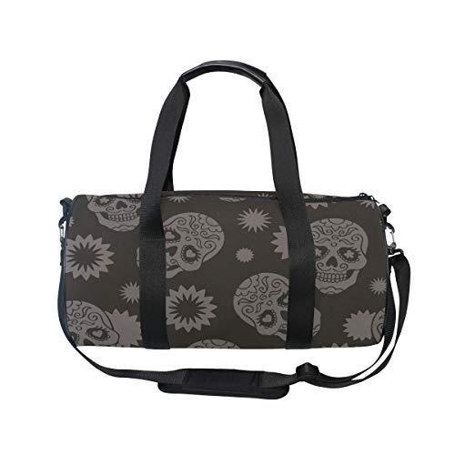 Muooum Sporttasche mit Totenkopf-Augen und Herz-Blumen-Motiv, Reisetasche für Damen und Herren (Halloween Herz Auge)