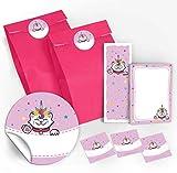 12 Geschenktüten / rosa + 12 Aufkleber + 12 Lesezeichen + 12 Mini-Notizblöcke Einhorn-Katze / Mitgebsel Gastgeschenke für Kinder Mädchen Kindergeburtstag Geburtstag Party-Zubehör Giveaways