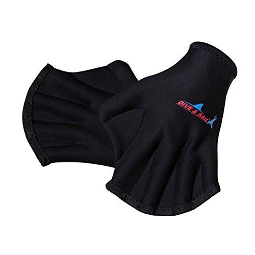 VORCOOL 1 Paar Schwimmhäute Schwimmhandschuhe Aquatic Traning Fit Paddel Wasserbeständigkeit Tauchen Hand Web (Schwarz) -