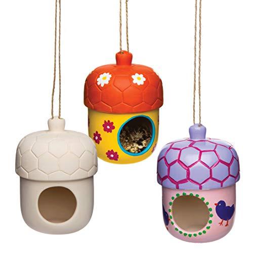 Baker Ross Keramik Eichel Vögelhäuser (2 Stück) für Kinder zum Basteln und Selber Dekorieren
