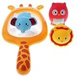 Homyl 4 Stück/Set Cartoon Vinyl Fischernetz Eule Löwe Elefant Tiermodell Badewannen Wasserspielzeug für Kinder und Baby