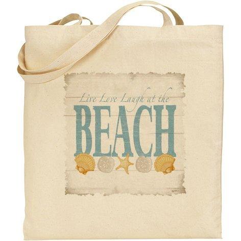 Live Love Laugh (ab) at the beach cotone Borsa