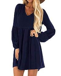 YOINS Damen Kleider Winterkleid für Damen Brautkleid Tshirt Kleid Rundhals Langarm Minikleid Kleider Langes Shirt Lose Tunika Baumwolle-dunkelblau EU46
