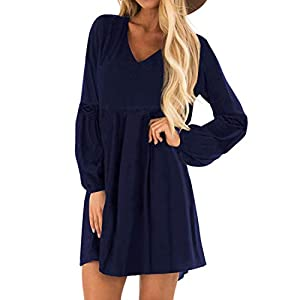 YOINS Damen Kleider Winterkleid für Damen Brautkleid Tshirt Kleid Rundhals Langarm Minikleid Kleider Langes Shirt Lose Tunika