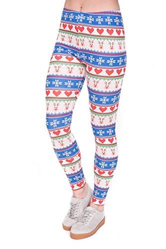 Bunte Damen Leggings Hose Einheitsgröße S-L | Mädchen Leggins bedruckt in verschiedenen Muster | Yoga Pants High Waist auch als Sporthose für Workout Winter Hearts