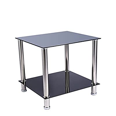 2 Tier End Table Coffee Table Side Table Display Stand or Lamp Table with Tempered Glass Shelves and Chrome Leg, 20''x18''x18'', Black - inexpensive UK light shop.