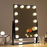Chende Tabletop Beleuchtete Schminkspiegel mit dimmbaren LED-Lampen, Professionelle Make-up Kosmetikspiegel mit Lichtern, 3 Farbe Licht Umwandlung (Schwarz)