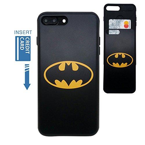 et Case/iPhone 8Plus Wallet Case] Kubrick Karte Slide Cover Bumper Handy Hülle Dual Layer-Schutz DC Marvel UV-Druckverfahren, Batman ()