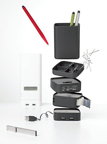 Lexon Set de Bureau avec Horloge, Hub USB, Ruban adhésif Multi Totem Red