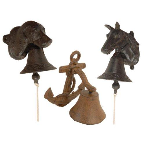 Türklingel Glocke Türglocke Gusseisen Hund, Pferd oder Anker Garten, Terassen, Tür DEKO