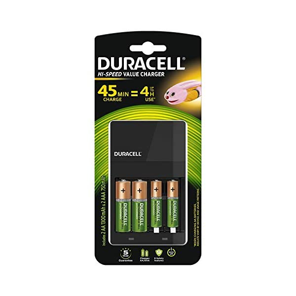 Duracell 4 hours Battery Charger with 2 AA and 2 AAA