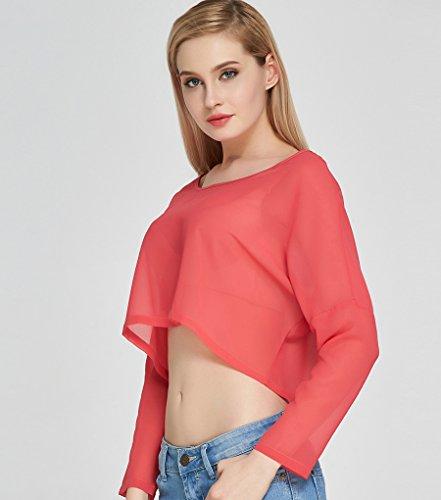 NiSeng Féminine Été Haut Court à Manches Longues Avec Un Col Rond T-shirt En Mousseline Crop Top Shirt Rose