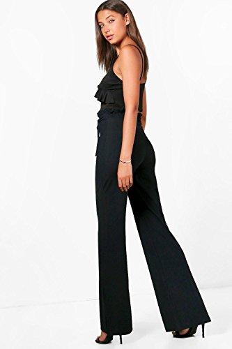 Femmes Noir Tall Amelia Pantalon Large Plissé Noué À La Taille Noir