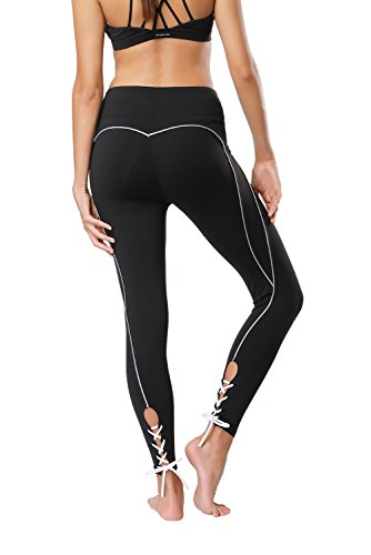 Tsuretobe Women Workout Leggings Fitness Athletic Clothes High Waisted Exercise Yoga Pants Lace Up Running Activewear
