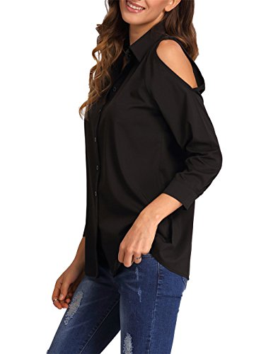 ELFIN® Damen Bluse Cold Shoulder Cut Out Hemdbluse Modern Loose Fit Langarm Oberteile Schwarz