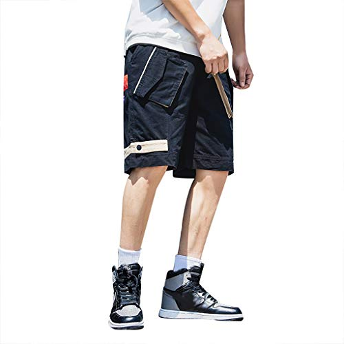 Setsail Herren Sport Pure Color Button beiläufige lose Jogginghose Drawstring Short Pants -