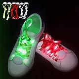 Novelty Place 3Paar LED Light Up Schnürsenkel mit 3Modi für Party, Tanzen, Laufen & DIY–3Paar (blau, rot & Weiß)