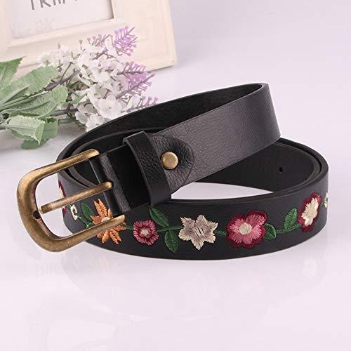 GBDDD Frauen Schwarz Leder Chinesischen Retro-Stil Gestickte Blumen Gürtel Metallschnalle Bund Neue Heiße Gürtel Für Frauen -