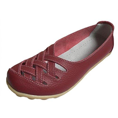 Heheja Mocassins pour Femme Loafers Casual Bateau Chaussures de Ville Rouge Foncé