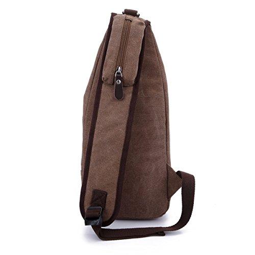 BULAGE Tasche Brusttasche Retro Einfach Stilvoll Ausgehen Dicke Leinwand Outdoor Freizeit Messenger Große Kapazität Männer Und Frauen Brown