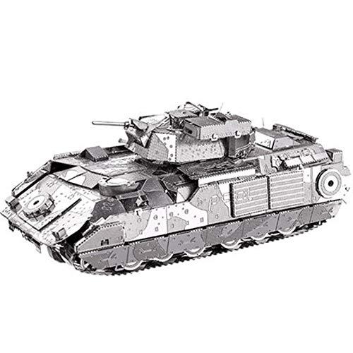 Creative Toy M2A2 Bradley Infanterie Chariot 3D-Stereo-Metall-Puzzle, Militär-Dekoration, Kinder-Puzzle, Festival, Gedenkgeschenk, Silver + a, 11 * 4 * 4CM