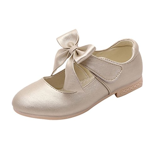 La Vogue Zapatos Zapatilla con Lazo para Niña Princesa Fiesta Dorado Color Talla 32