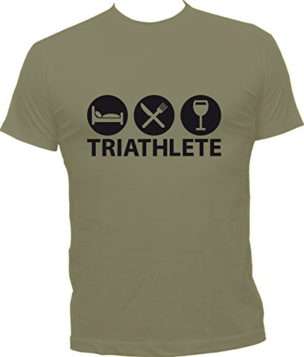 Boutique KKO Witziges T-Shirt Triathlet Gr. XXL, kaki