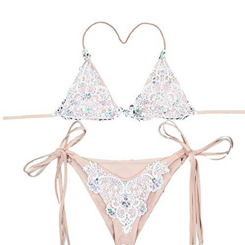 2Pcs / Set Frauen-Spitze-Bikini-Badeanzug-Diamant-Kristalldame-Badebekleidung Verband Bikinis Brasilianische Strass Bademode Push Up Bikini