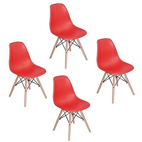 Eggree Lot de 4 chaises design tendance rétro eiffel bois chaise de salle à manger - Rouge