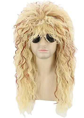 Toposplay 80er Jahre Perücke für Männer und Frauen Mullet Perücke Halloween Kostüm Rocker Perücke blond lockig zottelig Afro