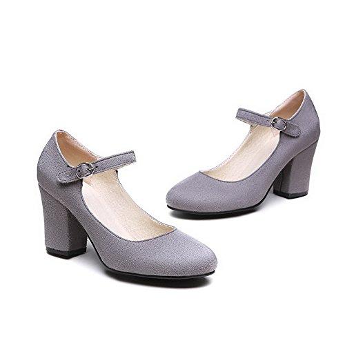 VogueZone009 Femme Dépolissement Rond à Talon Haut Boucle Chaussures Légeres Gris