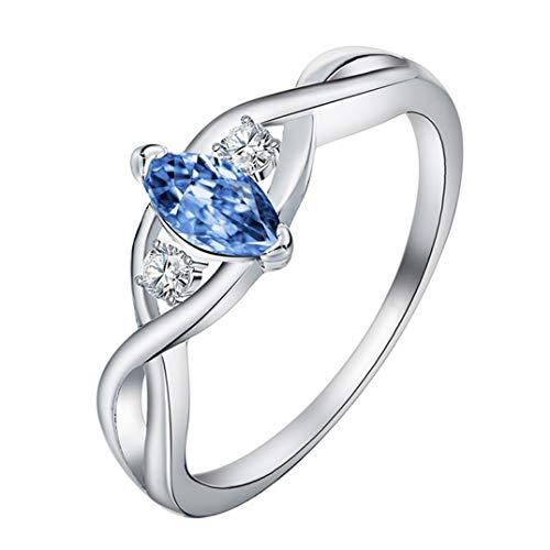 JOOFFF Aquamarin Ring wunderschöne schicke Frauen Schmuck Ring Auge Form Zirkon Ring klassische Hand Zubehör Temperament Ring, Marineblau, 8#