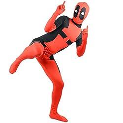 SuperSkins Disfraz - Disfraz de Deadpool para adultos y unisex, Zentai Onesie disfraz de Halloween, económico de lycra., rojo
