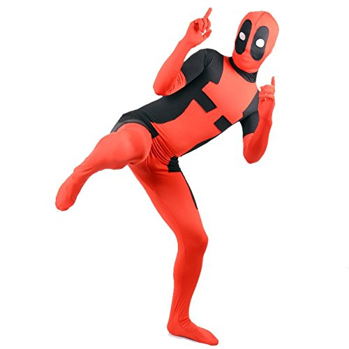 EyeCandy UK SuperSkin - Costume per adulti, unisex, in lycra, aderente | tuta Zentai in lycra, per Halloween Red M