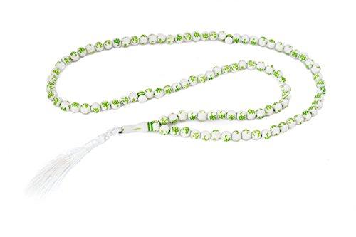 Gebetskette Tesbih 99 Perlen Weiss mit Beschriftung 'Allah' und 'Muhammad' (saw) auf Arabisch, ColorName:Grün