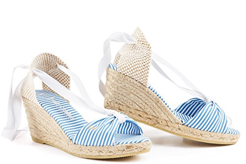 VISCATA Barcelona Damen Espadrilles, Navy White Stripes - Größe: 37 EU M (Stripe Wedge Sandals)