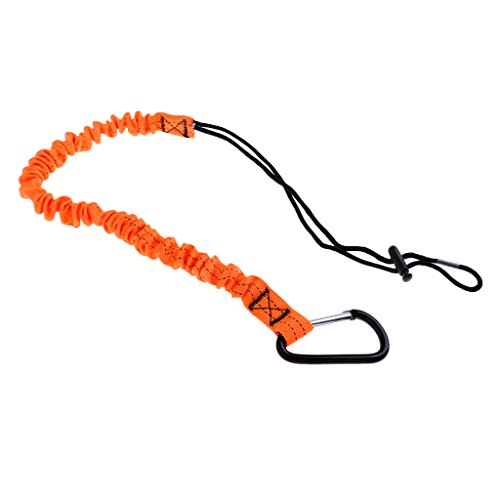 SunniMix Elastic Paddle Leash Safety Rod Leash Fishing Rod Lanyard Carabiner Clip for Inflatable Boat, Kayak, Canoe (Orange)