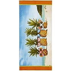 Catherine Lansfield Piña Toalla de Playa, Multi, Algodón, Multicolor, 160x 76x 0,4cm