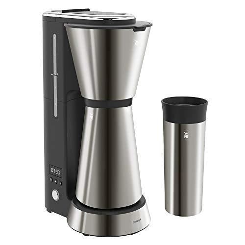 WMF Küchenminis Aroma Kaffeemaschine mit Thermoskanne (870 Watt, Filterkaffee 5 Tassen, Thermobecher to go (350ml), 24 Stunden-Timer, Abschaltautomatik) cromargan matt/graphit