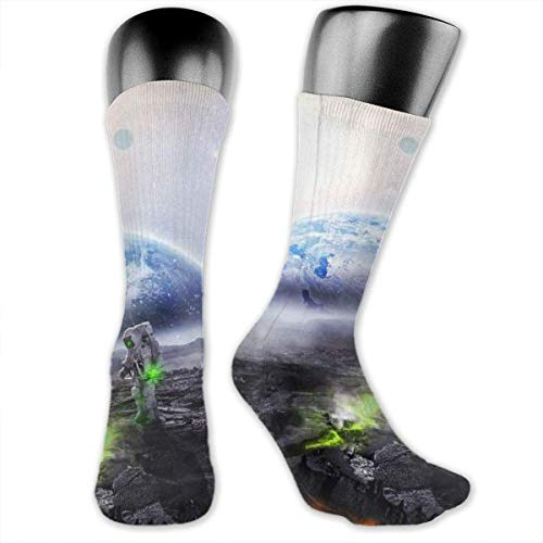 ushion Crew Socks Tube Socks Moon Astronaut New Middle Hohe Socken Sport Gym Socks ()