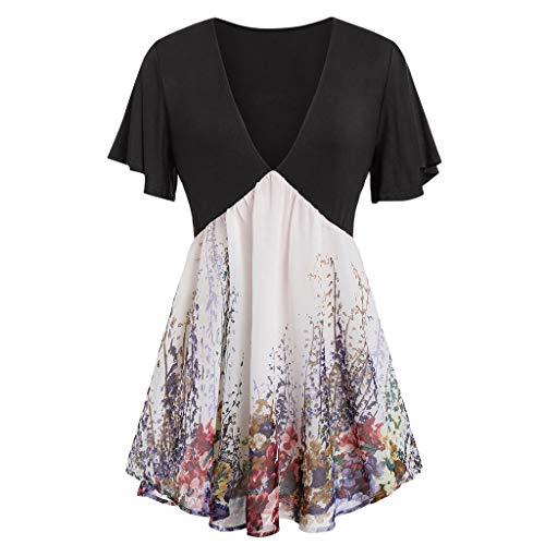 GOKOMO Damen Plus Size T-Shirt mit V-Ausschnitt und kurzen Ärmeln(Schwarz,Large) -