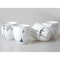 HwaGui Chinesische weiße Porzellan Tassen 4er Set für Tee-Liebhaber, Kunsthandwerk als Geschenk
