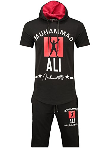 Herren Trainingsanzug / MUHAMMAD ALI Champion / Hose + Hoodie / SLIMFIT / Schwarz - kurz Large